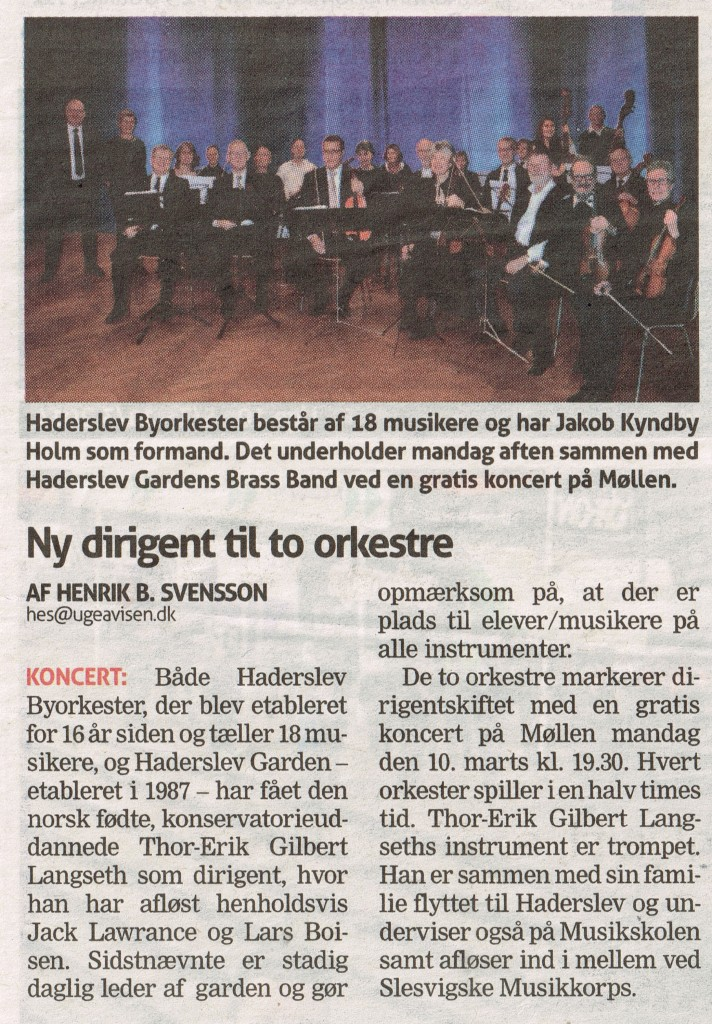 2014 5. marts Ny dirigent for to orkestre.