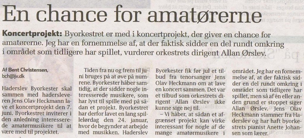 15. januar 2015 En chance for amatørerne.